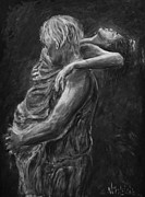 Couple Paintings - Lovers-Grey shades by Nik Helbig