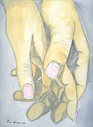 Hands Drawings - Lovers Hands by Eva Ason