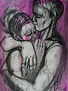 Illustrative Drawings Prints - Lovers - Hugs and Kisses Print by Carmen Tyrrell