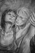 Lovers Paintings - Lovers in Mono 02 by Nik Helbig