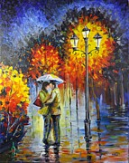 Lovers In The Rain Print by Harry Speese