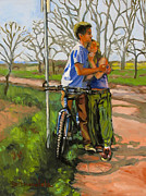 Color Image Paintings - Lovers leaning against a bicycle by Dominique Amendola