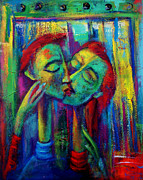 Kisses Paintings - Lovers  by Marina R Burch