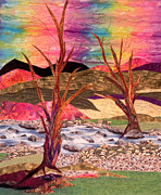 Bright Tapestries - Textiles Originals - Lovers by Maureen Wartski