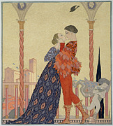 Decorations Painting Prints - Lovers on a Balcony  Print by Georges Barbier
