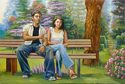 Color Image Paintings - Lovers on a bench by Dominique Amendola