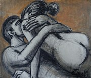 Drawing Of Lovers Art - Lovers - The Heat Of Love by Carmen Tyrrell