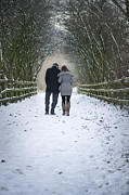 Couple In Snow Posters - Lovers Winter Walk Poster by Lee Avison