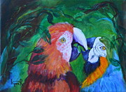 Macaw Prints - Lovey n Dovey Print by Lynn Rattray