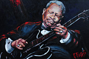 American Singer Paintings - Lovin Lucille B B King by Carole Foret