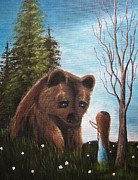 Grizzly Bear Paintings - Loving All Gods Creatures by Shawna Erback by Shawna Erback