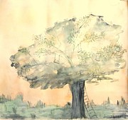 Quietude Paintings - Loving Tree by Lucie  Menard