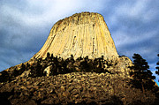 Destinations Digital Art Posters - Low Angle Devils Tower National Monument Wyoming USA Fresco Poster by Shawn OBrien