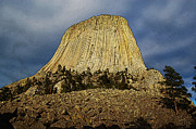 Destinations Digital Art Posters - Low Angle Devils Tower National Monument Wyoming USA Poster Edges Poster by Shawn OBrien