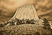 Destinations Digital Art Posters - Low Angle Devils Tower National Monument Wyoming USA Rustic Poster by Shawn OBrien