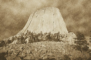 Destinations Digital Art Posters - Low Angle Devils Tower National Monument Wyoming USA Vintage Poster by Shawn OBrien