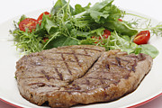 Salad Prints - Low carb steak and salad closeup Print by Paul Cowan