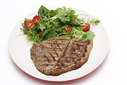 Rump Posters - Low carb steak and salad Poster by Paul Cowan
