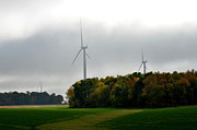 Going Green Prints - Low Ceiling for Wind-Turbines Print by Larry Jones