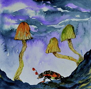 Blue Mushrooms Painting Posters - Low Places Poster by Beverley Harper Tinsley