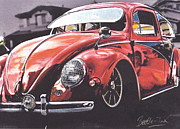 Volkswagen Pastels Prints - Low Ride Print by Art Haus Ink