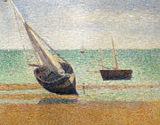 Georges Pierre Framed Prints - Low Tide at Grandcamp Framed Print by Georges Pierre Seurat