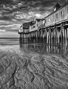Storm Prints Digital Art Posters - Low Tide at Orchard Beach Black and White Poster by Jerry Fornarotto