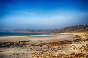 Cape Cornwall Prints - Low tide at Sennen Cove Print by Chris Thaxter