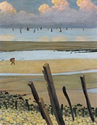 Calm Waters Framed Prints - Low Tide at Villerville Framed Print by Felix Edouard Vallotton