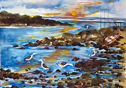Seagull Drawings Metal Prints - Low Tide at West Neck Beach Metal Print by Siona Koubek