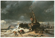 Sailing Ship Paintings - Low Tide by Eugene Isabey