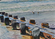 Sea Birds Paintings - Low Tide Feeding Time by Bart Dunlap