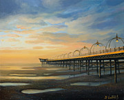 Beach Scenery Painting Prints - Low Tide in Southport Print by Kiril Stanchev