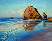 Original Oil Paintings - Low Tide Oregon by Graham Gercken