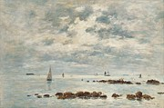 Sailboat Paintings - Low Tide Saint Vaast la Hougue by Eugene Louis Boudin