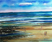 Maine Seacoast Paintings - Low Tide Wells Beach Maine by Scott Nelson