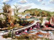 Rural Living Painting Posters - Low Water Bridge Across Stouts Creek Poster by Kip DeVore
