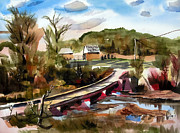 Autumn Scene Mixed Media Prints - Low Water Bridge II Print by Kip DeVore
