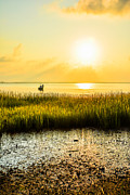 Saltwater Fishing Metal Prints - Lowcountry Fisherman Metal Print by Wendy Mogul