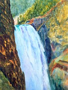 Wyoming Paintings - Lower Falls of the Yellowstone by Todd Derr