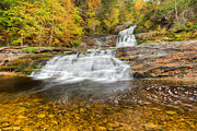 New England Fall Foliage Art - Lower Kent Falls by Bill  Wakeley