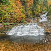 Rural Landscapes Prints - Lower Kent Falls Square Print by Bill  Wakeley