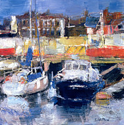 Tranquil Paintings - Lowestoft Harbour View by Sylvia Paul