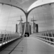 Pedestrians Prints - Lowry Bridge Salford Quays Print by Colin and Linda McKie