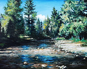 Flyfishing Painting Originals - Lowry Creek Run by Mike Worthen