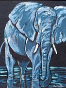 Blue Water Tapestries - Textiles Posters - Loxodonta Poster by Kay Shaffer