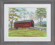 Frederick Pastels - Loys Station Covered Bridge near Thurmont MD by Nancy Heindl
