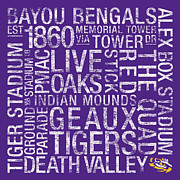 Live Oaks Posters - LSU College Colors Subway Art Poster by Replay Photos