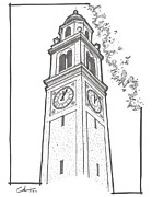 Sec Drawings Posters - LSU Memorial Bell Tower Poster by Calvin Durham