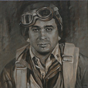Joe Paintings - Lt Commandor Joe Gibson by Linda Eades Blackburn